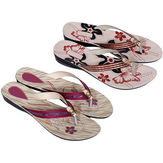 IndiWeaves Women's Multicolor Flip Flops