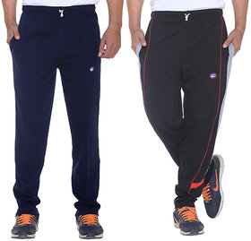 Vimal-Jonney Navy Blue And Black Mens Cotton Trackpants  Pack Of 2