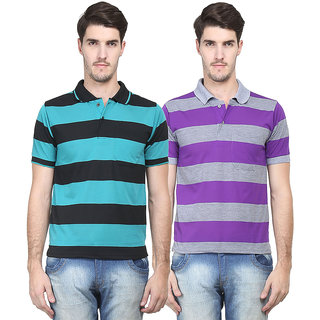 Vimal Original Purple  Green Cotton Blend Polo Tshirt For Men (Pack Of 2)