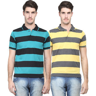 Vimal Original Green  Yellow Cotton Blend Polo Tshirt For Men (Pack Of 2)
