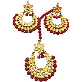 Buy Jfu Copper Artificial Jewellery Maang Tika With Earrings For