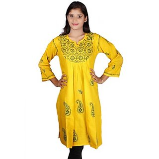 Embroidered Womens A-line Kurta Yellow