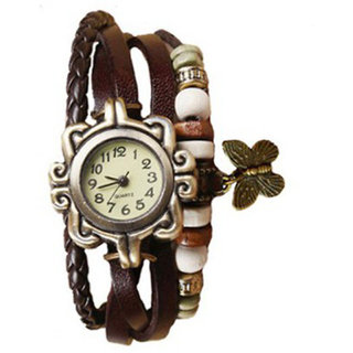 Elios Vintage Butterfly Watch  Brown