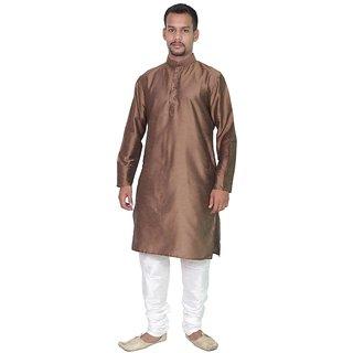 Arose Fashion  Brown Silk Kurta Pajama Set