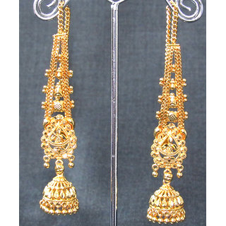 Wedding Golden Jhumka Chain Earring