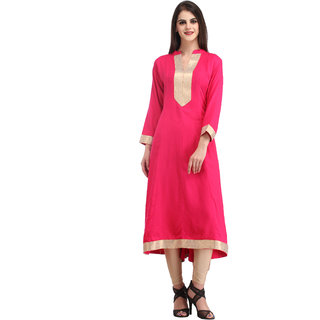 Yufta Pink Viscose And Rayon Plain Anarkali Kurta