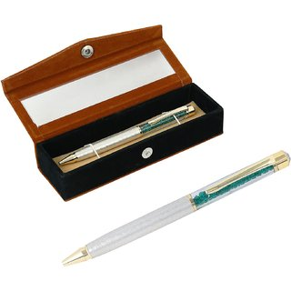 German Silver Green Crystal Filled Ball Pen With Velvet Gift Box