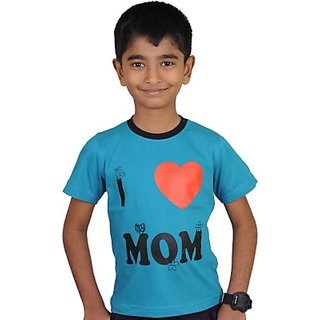 Kissing Kids Printed Boys Round Neck Blue T-Shirt