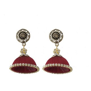 Maroon silk thread jhumkas For Women