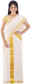 Fashionkiosks Kerala Pure Cotton Kasavu Handloom Simply Jari Design Settu Mundu with Blouse 23Jarism