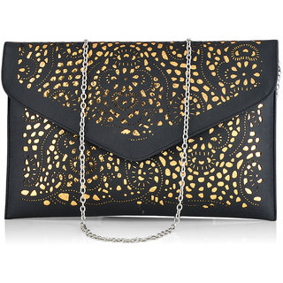 Stoln Women Black Cut Work Clutch Bag-6618