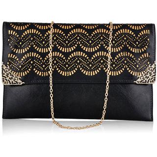 Stoln Women Black Clutch Bag-8662Black