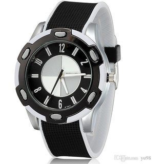 Multicolor Leather Strap Quartz Watch for Men