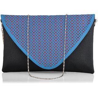 Stoln Women Blue-Black Clutch Bag-A-12020Blue-Black
