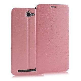 Heartly Premium Luxury PU Leather Flip Stand Back Case Cover For Alcatel Onetouch Flash - Cute Pink