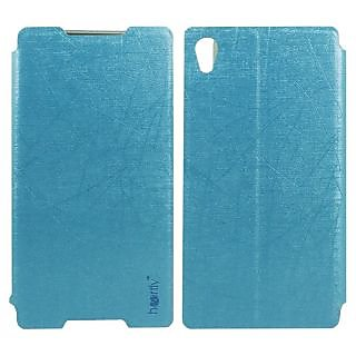 Heartly Premium Luxury PU Leather Flip Stand Back Case Cover For Sony Xperia Z4 - Power Blue