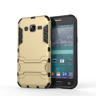 Heartly Graphic Designed Stand Hard Dual Rugged Armor Hybrid Bumper Back Case Cover For Samsung Galaxy J2 SM-J200F - Mobile Gold