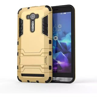 Heartly Graphic Designed Stand Hard Dual Rugged Armor Hybrid Bumper Back Case Cover For Asus Zenfone 2 Laser ZE500KL 5 inch - Mobile Gold