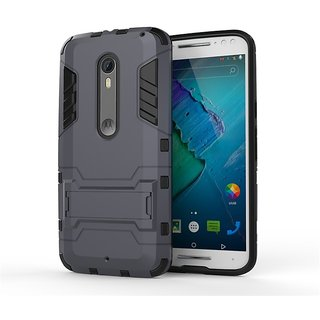Heartly Graphic Designed Stand Hard Dual Rugged Armor Hybrid Bumper Back Case Cover For Motorola Moto X Style - Navy Black