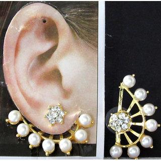 White Pearl Flower Stone Ear Cuff Earring