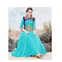 Thankar Online Trading Blue & Sky Blue Net Semi- Stitched Anarkali Suit