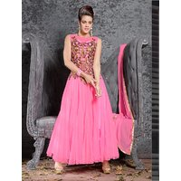 Thankar Pink And Beige Embroidered Net And Georgette Anarkali Suit
