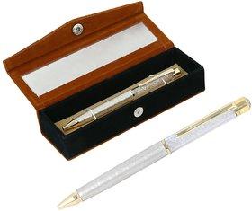 German Silver White Crystal Filled Ball Pen With Velvet Gift Box