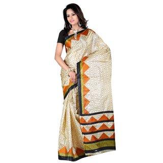 Kajal Sarees Beige Silk Printed Saree With Blouse