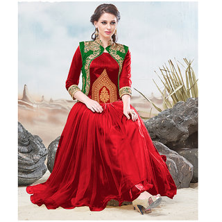Thankar Green and Red Embroidery Silky Net Anarkali Suit