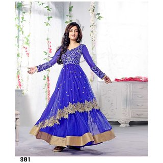 Thankar Blue And Silver Embroidered Net And Georgette Anarkali Suit