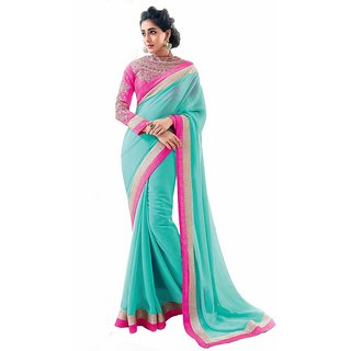 Bhuwal Fashion Blue Chiffon Embroidered Saree With Blouse