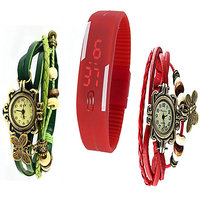 Jack Kleins Combo Of Stylish Red  Green Vintage And Red Led Watches
