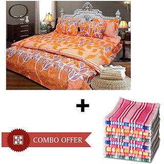 JBG Home Store Cotton Double Bedsheet with 2 pillow covers  6 Hand towels