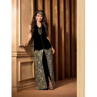 Thankar Black Heavy Embroidery Straight Suit (Unstitched)