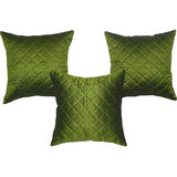 Box Quilting Cushion Cover Green 30/30 Cm 3 Pcs Set