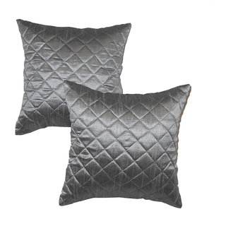 Box Quilting Cushion Cover 30/30 Cm Grey 2 Pcs Set