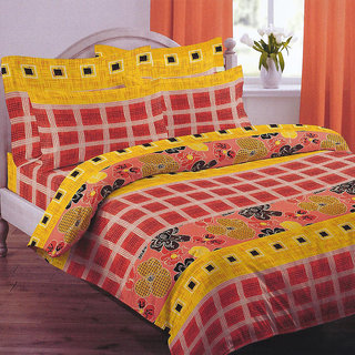 Looms of India chequred print  Bed Sheet Set (BC-11369)
