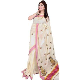 Fashionkiosks Pure Cotton Kasavu Kerala Cream Colour pink and gold Krishnan Embroider work pallu Saree With Attached Blouse Pink Emb