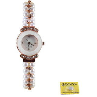 Fashion Elegant Women  Pearl Belt  Analog Watch - ED11