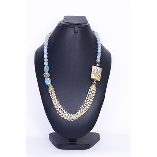 La Silversmiths Blue colours jade stone with pearl necklace.