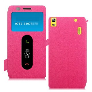 Heartly GoldSand Sparkle Luxury PU Leather Window Flip Stand Back Case Cover For Lenovo A7000 Dual Sim - Cute Pink
