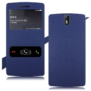 Heartly GoldSand Sparkle Luxury PU Leather Window Flip Stand Back Case Cover For OnePlus One 4G - Power Blue