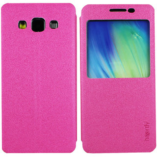 Heartly GoldSand Sparkle Luxury PU Leather Window Flip Stand Back Case Cover For Samsung Galaxy A5 SM-A500F - Cute Pink
