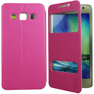 Heartly GoldSand Sparkle Luxury PU Leather Window Flip Stand Back Case Cover For Samsung Galaxy A3