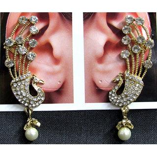 White Drop Jhumka Stone Peacock Earring
