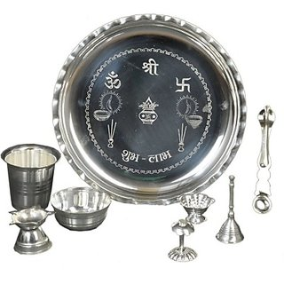 Silver Plated Pooja  Thali Set (8 Pieces, Silver)