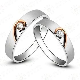 RM Jewellers CZ 92.5 Sterling Silver American Diamond Lovely Heart Couple Band For Men and Women