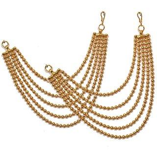 Pourni Traditional Golden Antique finish Ear Chain - PRERchain01