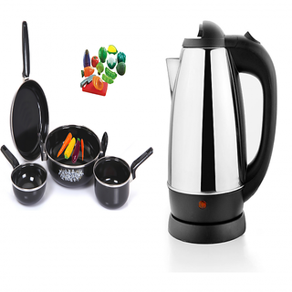 Combo of Electric kettle 1.8 ltr and set of 4 cookware
