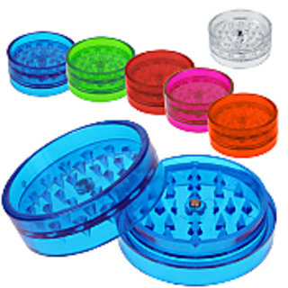 Moksha 2 Inch 2 Part Shark Teeth Acrylic Crusher Grinder With Play Mate- 1 Pcs (Assorted Color)